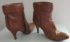 Custom Made Women's Brown Soft Leather Zip-Up High Heel  Ankle Bootie  8-38