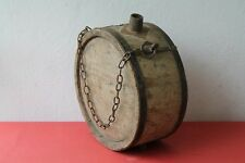 ANTIQUE AUTHENTIC PRIMITIVE CWE HANDMADE XL SIZE CANTEEN FLASK KEG IRON BANDED.