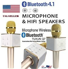 Tuxun Q7 Wireless Bluetooth Karaoke Microphone Dual Loud Speakers - Gold