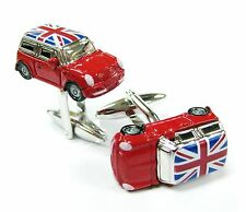 Red Mini Cooper with Union Jack Flag Cufflinks Automotive Car Cuff Link Gemelo