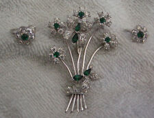 STUNNING Vintage Joseph Mazer JOMAZ Green Rhinestone Brooch & Screw Earrings Set