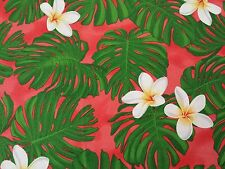 Tropical Breeze by Studio 8 BTY Quilting Treasures Monstera Leaves Hawaiian Red