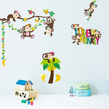 Kids Wall Decal Decor Room Stickers Vinyl Removable Mural Lovely Monkey Tree