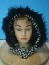 45740 Black and White Houndstooth Tweed Hood Hat with Black Faux Fur Trim