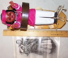 1981 NM Carlson Navajo Indian Doll in Leather Wood Handmade Cradleboard