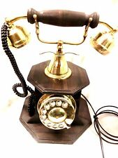 ANTIQUE / VINTAGE LOOK  ~  WOODEN BASE ~  BRASS ROTARY ~  TELEPHONE ~ PHONE