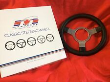 "CLASSIC MINI BLACK LEATHER STEERING WHEEL 12"" KIT CAR HOTROD SEMI DISHED"