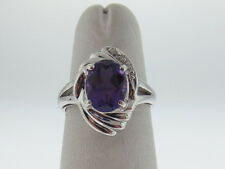 Purple Amethyst Diamonds Solid 14K White Gold Ring FREE Sizing