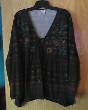 Maurice's Beautiful Brown Embroidered Top Size 1