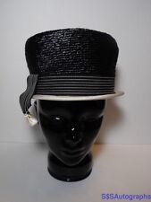 Vintage Antique DORIS DESIGNED Women's Black & White DRESS HAT Size 22