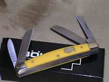 BOKER VINTAGE YELLOW HUNTING POCKET KNIFE W/ NICKEL SILVER INLAY SHIELD !!!