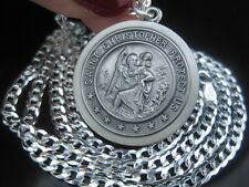 St.Christopher 25MM Medal Religious Pendant Chain No Stone Sterling Silver