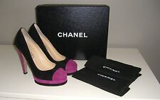 CHANEL 12A Spectator Pumps, Black/Pink Suede, Size 37