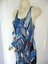 100% Silk Dress Banana Republic Small S Ruffled Bodice Swirly Pattern Sleeveless