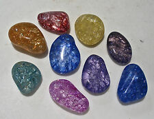 5 x CRACKLE QUARTZ CRYSTAL 20mm - 25mm TUMBLESTONES POLISHED STONES PEBBLE