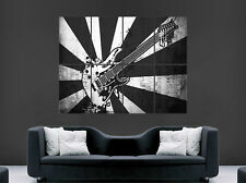 BLACK AND WHITE GUITAR MUSIC NOTES POSTER ABSTRACT STYLE WALL ART LARGE IMAGE