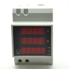 80-300V 100A Digital LED Din Rail Volt Amp Watt Power Meter Ammeter Voltmeter