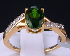 1.63ct Genuine Chrome Diopside Solitaire w/Zircon 10k Solid Gold Ring, Size 8