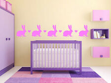 "Bunny Hearts Border 6"" vinyl wall decal graphic baby girls Bedroom Childrens"