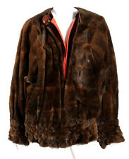 FENDI 1970's Vintage Sheared Beaver Fur & Coral Silk Reversible Coat M