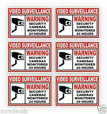 6 Home or Business Security Stickers Labels Decal Window Door Video Surveillance