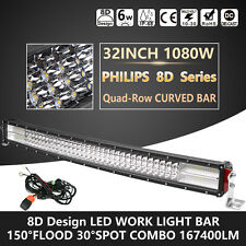 Quad-Row 32Inch 1080W 8D Curved PHILIPS LED Light Bar Spot Flood Driving OffRoad