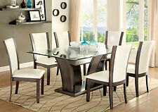 Furniture Of America Manhattan Glass Top Rectangular Dining Table Chairs 7Pc Set