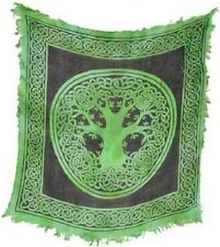 Green Celtic Tree of Life Altar Cloth 18 x 18 Wiccan Pagan Altar Supply #93