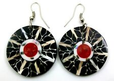ABALONE, CONE SHELL & RED CORAL Earrings: CA275-A