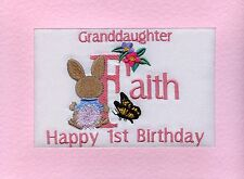 Embroidered Personalised Granddaughter's 1st Birthday Greeting Cards Daughter