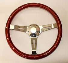 "Classic Wood Steering Wheel 15"" Fits Ididit and Flaming River GM Column Horn Kit"