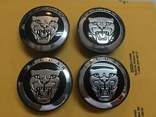 NEW JAGUAR BLACK WHEEL HUB COVER CAPS LOGO SET OF 4 RIMS CAP C2D9611 / C2Z4438