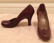 Vtg 40s I. MILLER Lizagator Animal Print BLOOMS Brown Leather Pump Heels Sz 6AA