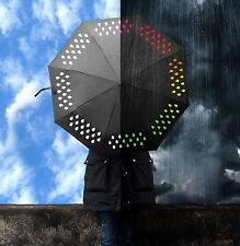 Suck UK Colour Changing Umbrella Changes When Wet Muticoloured Black Brolly Gift