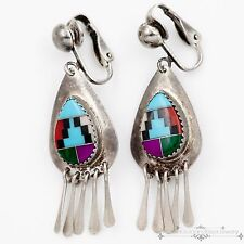 Vintage Native Pawn Zuni Sterling Silver Turquoise MOP Coral Sugilite Earrings!