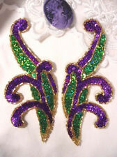 0097 ~ PURPLE GREEN PAIR SEQUIN BEADED APPLIQUES 5.5""