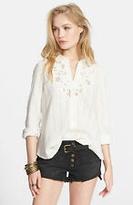 NWT Free People Carter Top Embroidered Lace collar Shirt Sz S Ivory Button down