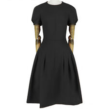 Valentino Elegant Black Tailored-Fit Pintuck Inverted Pleat Dress IT44 UK12