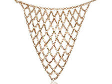 Golden Tone Tribal Criss Cross Triangle Net Chain Link Mesh Fashion Bib Necklace