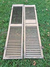 "VINTAGE PAIR OF LARGE BROWN SHUTTERS NICE UNUSUAL HARDWARE 67"" X 14"" 3 AVAILABLE"