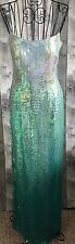 Cache Ombre Sequin Beaded Gown Dress Aqua Lined Bra Formal Pageant Lined Size 6