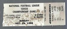1968 NFL CHAMPIONSHIP BALTIMORE COLTS @ CLEVELAND BROWNS FOOTBALL TICKET STUB
