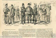Uniforms Lanswehr Prussia Hussars Pickelhaube Cuirassiers GRAVURE OLD PRINT 1866