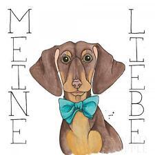 """DACHSHUND SHORT SMOOTH HAIRED GERMAN SAUSAGE DOG POSTER ART PRINT """"Meine Liebe"""""""