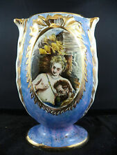 Antique Victorian era Vase Hand Painted Nude & Lover Gold Trim Artist Signed AC