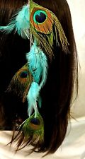 "Peacock Eye 16"" Clip In Feather Extension For Hair Beautiful aqua Long"