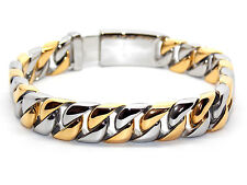Men's New Design Stainless Steel Gold And Silver Plated Bracelet