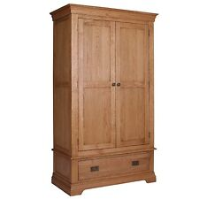 Loire Oak Farmhouse 2 Door 1 Drawer Wardrobe LOR012