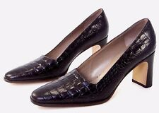 Phyllis Poland Classic Pumps 7 B Dark Brown Faux Croc Embossed Block Heel Italy