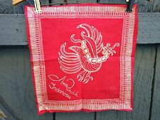 Indonesian Dyed Red White Folk Art Rooster Cotton Arya Batik Panel